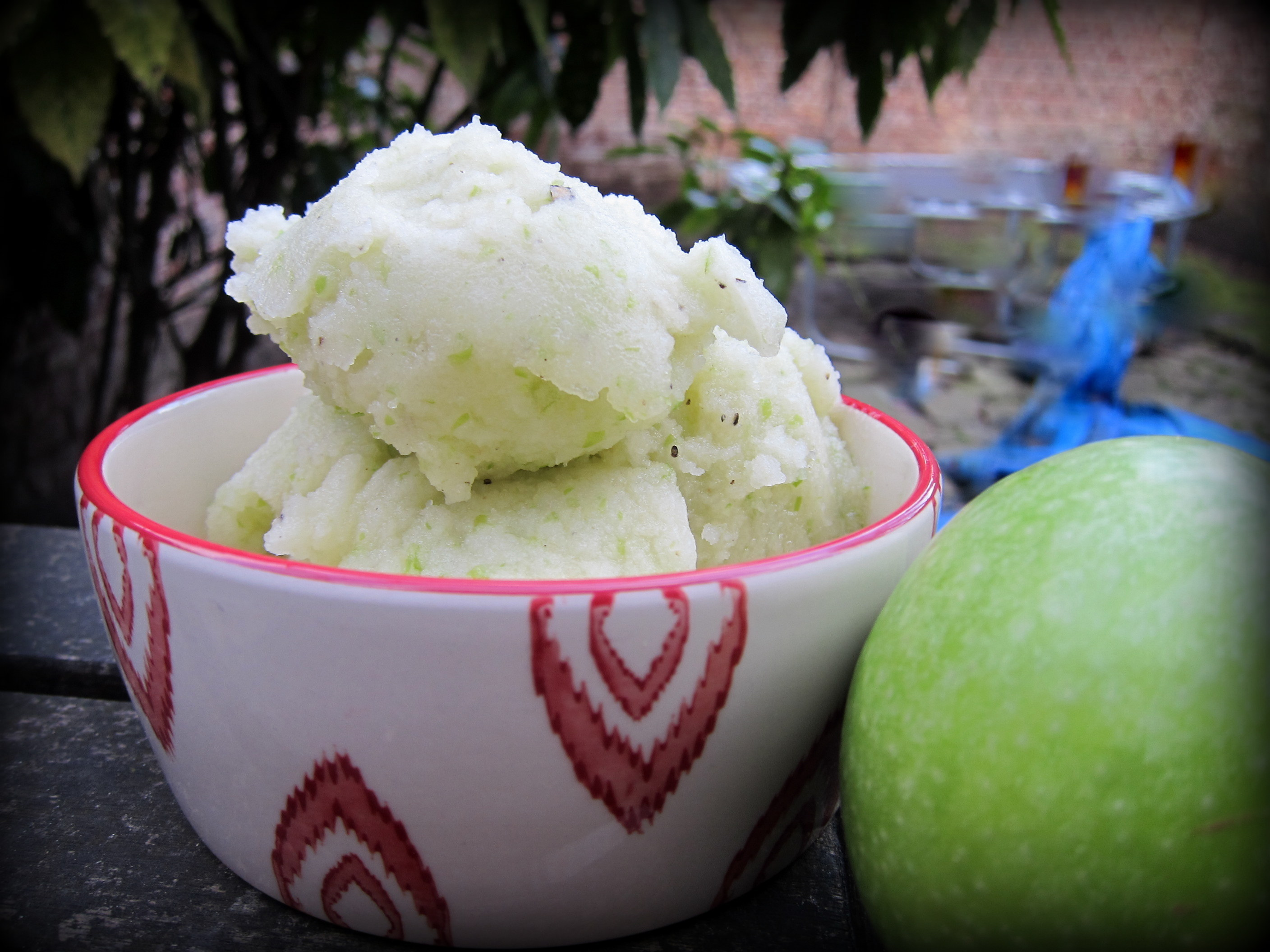 Green Apple Sorbet, this time made with more sugar syrup. The added ...