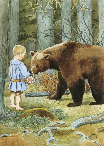 "Swedish culture seems to have a blueberry bias: Little Olle in the popular, classic children's song ""Mother's little Olle"" probably saves his life unwittingly by offering his blueberries to the hungry bear he encounters."