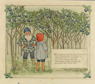 "Blueberries have a strong standing in Swedish culture - here, a telling image from the classic children's tale ""The Adventures of Putte in the Blueberry forest"""