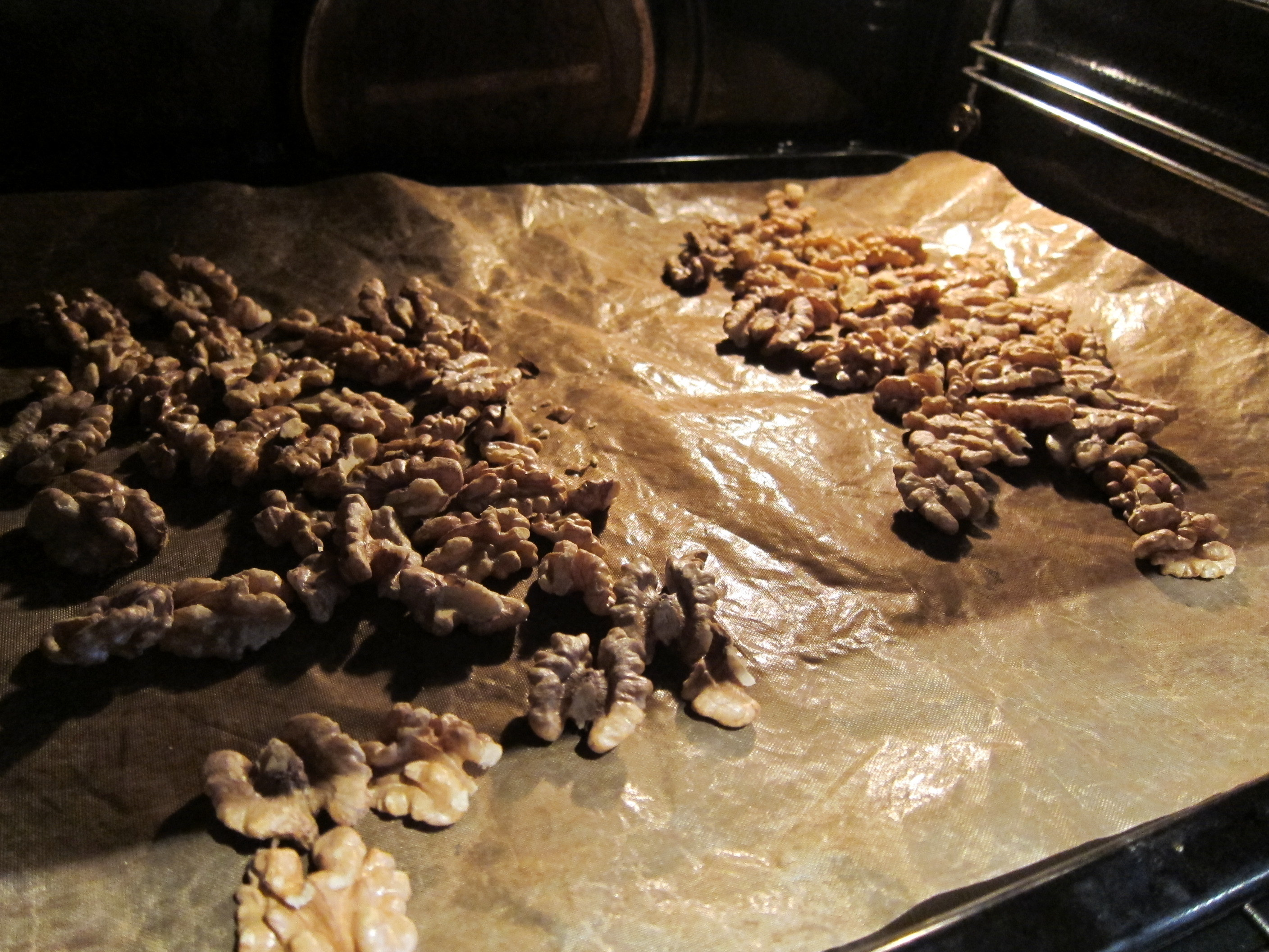 Walnuts being roasted