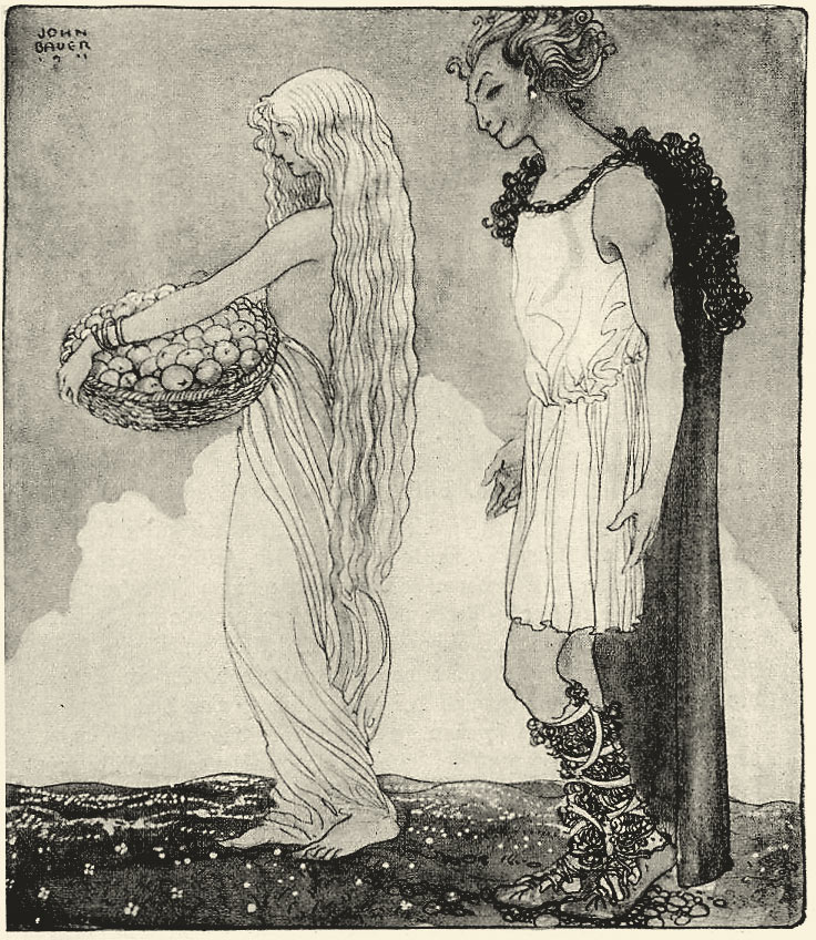 Idun, old Scandinavian Goddess of Love and Knowledge, and guardian of the apples of eternal youth (here in the company of the trickster God Loki)