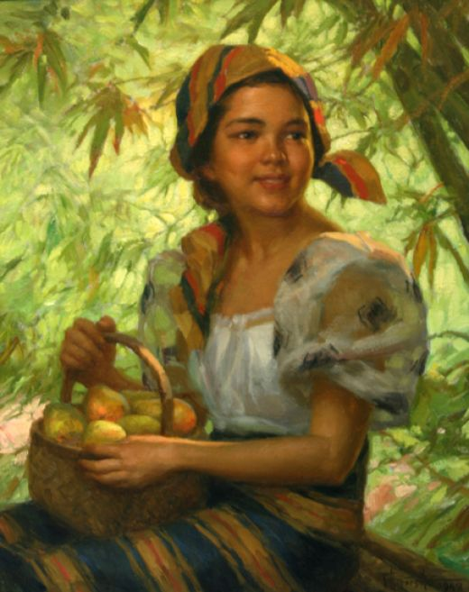 A Basket of Mangoes, by Amorsolo 1949