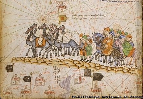 Caravan crossing the Silk Road (detail of the map of Asia), the Catalan Atlas Spain, Majorca 14th century