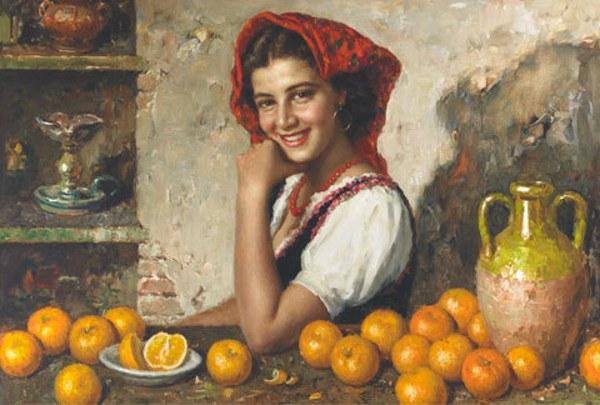 girl-with-oranges by Luigi  Amato