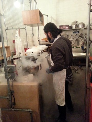 The extremely cold liquid nitrogen will freeze the ice cream base in no time at all!